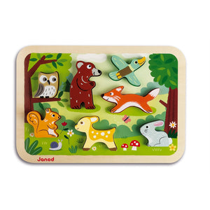Janod Forest Puzzle With 7 Different Animals | Wooden Toddler Activity Toy | Front View | BeoVERDE.ie