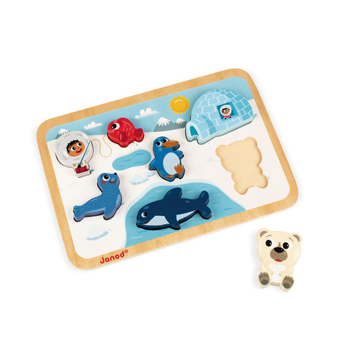 Janod Polar Circle Puzzle With 7 Different Figures | Wooden Toddler Activity Toy | Polar Bear Outside Tray | BeoVERDE.ie