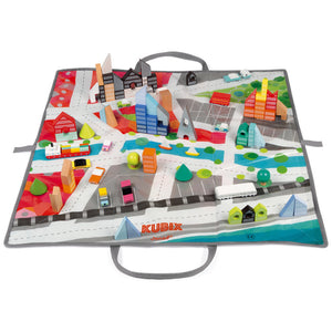 Janod Kubix 70 Archi Blocks | 70 Solid City-Themed Play Blocks & Mat | Front View | BeoVERDE.ie