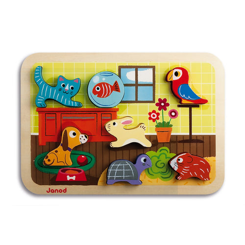 Janod Pets Puzzle With 7 Different Animals | Wooden Toddler Activity Toy | Front View | BeoVERDE.ie