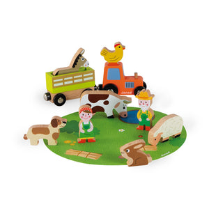Janod Wooden Figure Farm Play Set with 10 Figures | Imaginative Play Toys | Front View | BeoVERDE.ie