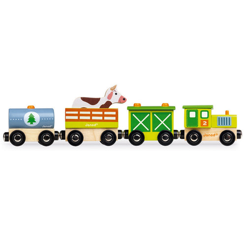 Janod Wooden Farm Steam Train with 3 Carriages | Imaginative Play Toys | Side View | BeoVERDE.ie