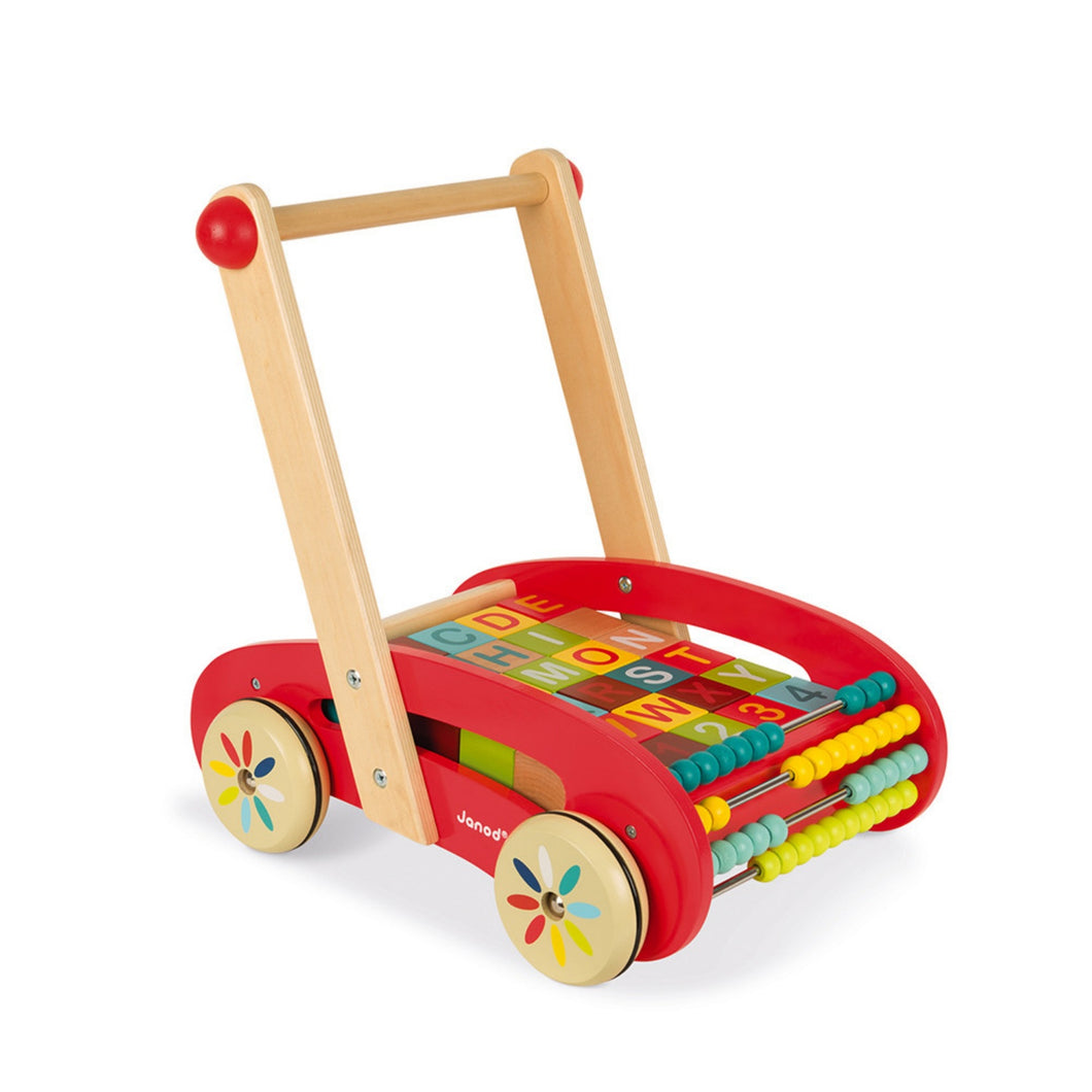 Janod Baby Walker With Wooden ABC Blocks | Wooden Push Along Trolley | Wooden Toddler Activity Toy | Front-Left Side View | BeoVERDE.ie