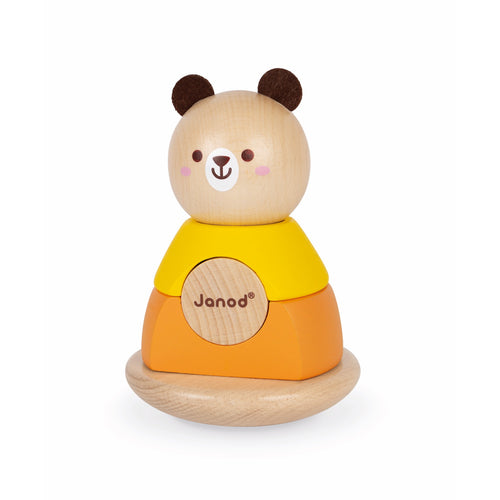 Janod Bear Stacker & Rocker | Wooden Toddler Activity Toy | Front View | BeoVERDE.ie