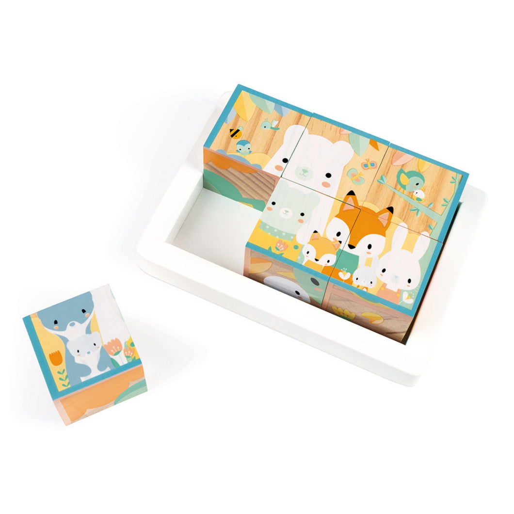 Janod Pure 6 Wooden Blocks Tray | Wooden Toddler Activity Toy | Top View – Animal Group – One Block Out | BeoVERDE.ie