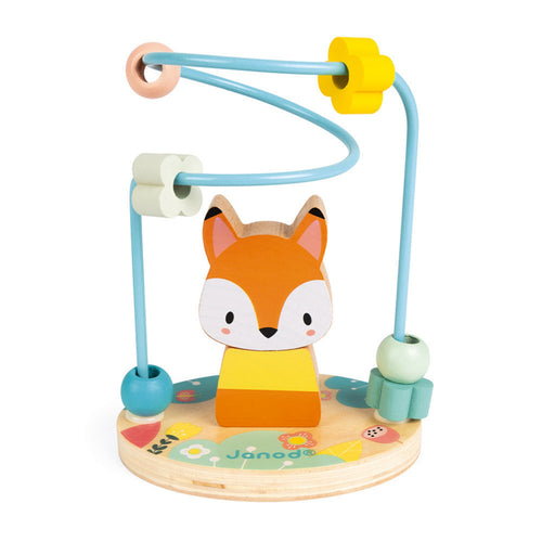Janod Stackable Fox & Bead Maze | Wooden Toddler Activity Toy | Front View | BeoVERDE.ie