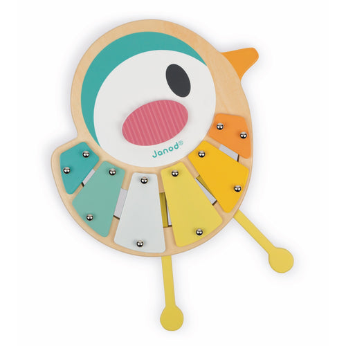 Janod Pure Bird Xylo | Wooden Toddler Activity Toy | Front View | BeoVERDE.ie