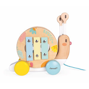 Janod Pure Pull-Along Snail | Wooden Toddler Activity Toy | Right Side View Xylophone | BeoVERDE.ie