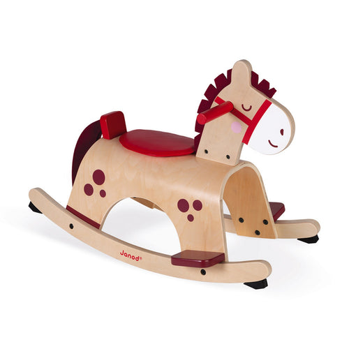 Janod Wooden Rocking Pony | Baby & Toddler Activity Wooden Toy | Side View | BeoVERDE.ie