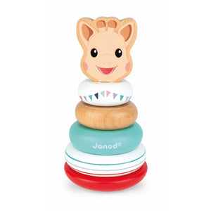 Sophie la girafe Stackable Roly-Poly | Wooden Toddler Activity Toy | Front View | BeoVERDE.ie