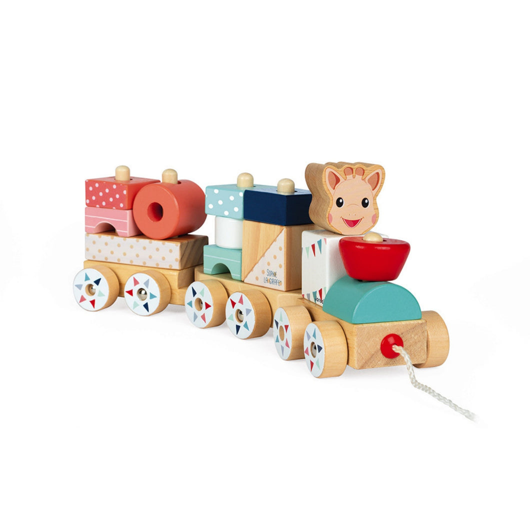 Janod Sophie la girafe Wooden Train | Wooden Toddler Activity Toy | Front-Side View | BeoVERDE.ie