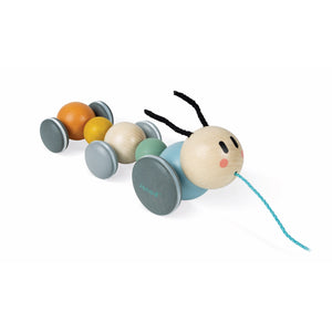 Janod Sweet Cocoon Pull-Along Caterpillar | Scandi Style Wooden Toddler Activity Toy | Front Right Side View | BeoVERDE.ie