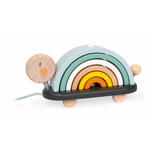 Janod Sweet Cocoon Rainbow Turtle | Scandi Style Wooden Toddler Activity Toy | Left Side View | BeoVERDE.ie