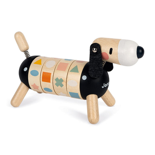 Janod Sweet Cocoon Shapes And Colours Dog | Scandi Style Wooden Toy | Front Right Side Mixed | BeoVERDE.ie