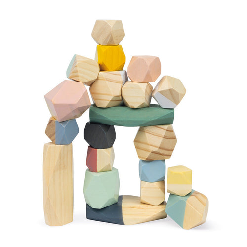 Janod Sweet Cocoon Stacking Stones | Scandi Style Wooden Toy | Front View Stones Stacked Up | BeoVERDE.ie