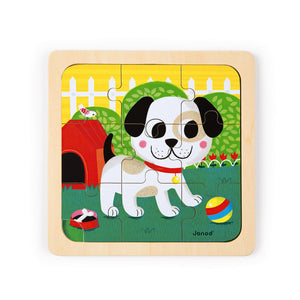 Janod Titus the Dog Wooden Puzzle | Wooden Toddler Activity Toy | Front View | BeoVERDE.ie