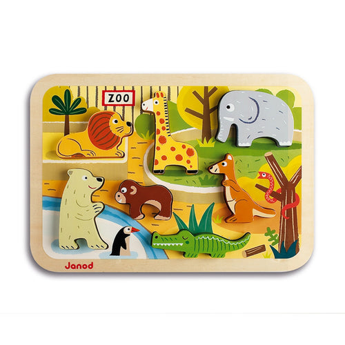 Janod Zoo Puzzle With 7 Different Animals | Wooden Toddler Activity Toy | Front View | BeoVERDE.ie