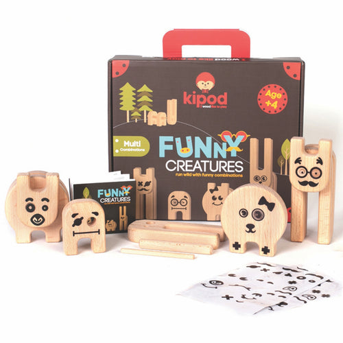 Kipod Toys Funny Creatures | Creative Wooden Toy Play Set | Wooden Assembly Puzzle & Game | Front View – Figures Assembled | BeoVERDE.ie