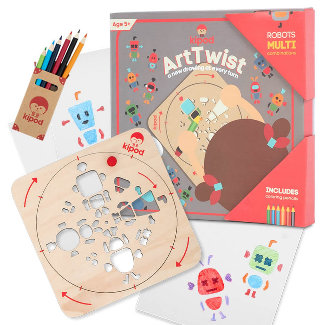Robots - Rotating Wooden Drawing Stencil Kit for Children | Kipod Toys | Wooden Arts & Crafts Kit | Educational Wooden Toy | Front View | BeoVERDE.ie