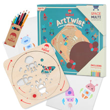 Load image into Gallery viewer, Space - Rotating Wooden Drawing Stencil Kit for Children | Kipod Toys | Wooden Arts & Crafts Kit | Educational Wooden Toy | Front View | BeoVERDE.ie