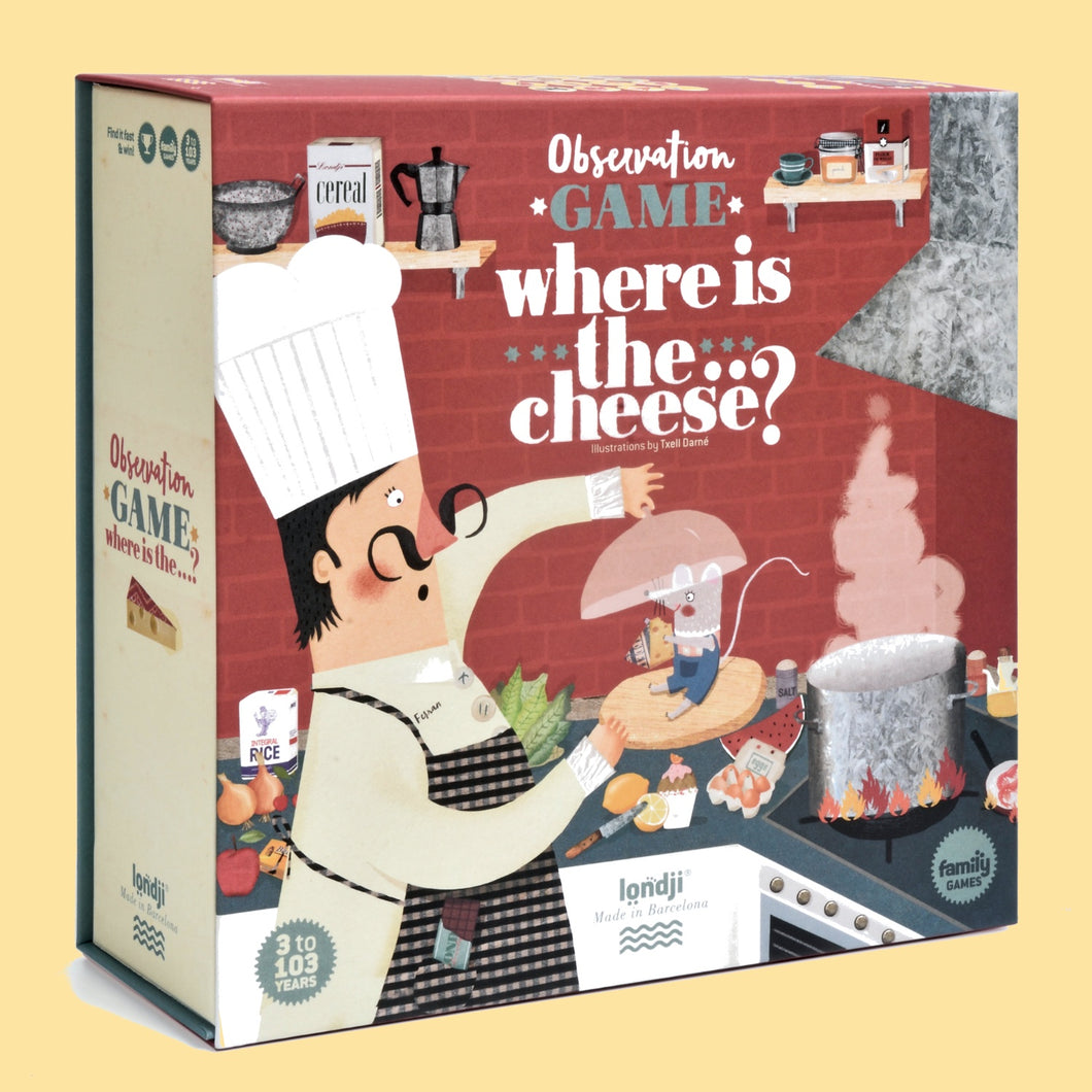Londji WHERE IS THE CHEESE? Board Game | Board Game for Kids, Adults & the Whole Family | Front View – Box | BeoVERDE.ie