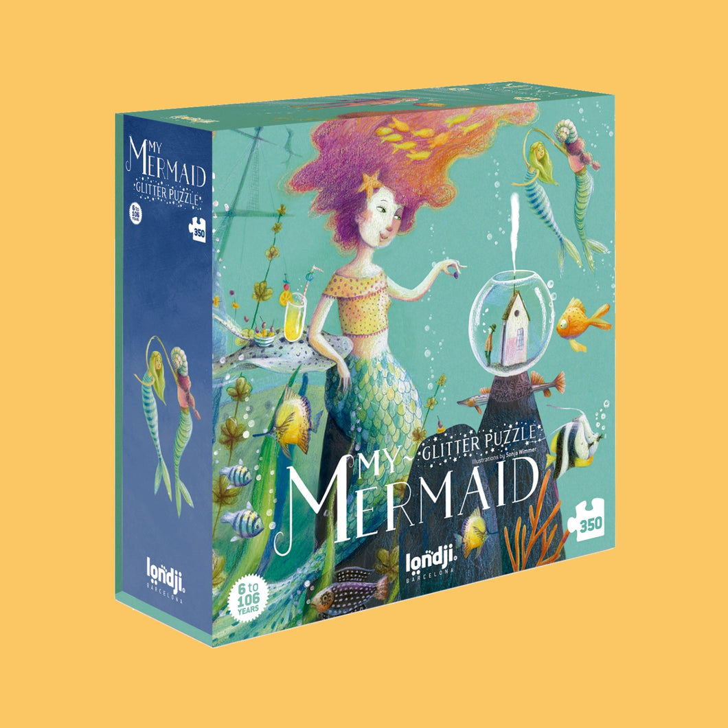 Londji MY MERMAID Jigsaw Puzzle | Designed by Sonja Wimmer Jigsaw Puzzle | Perfect Jigsaw Puzzle for Kids 6 Years and Older and Adults | Front View – Box | BeoVERDE.ie