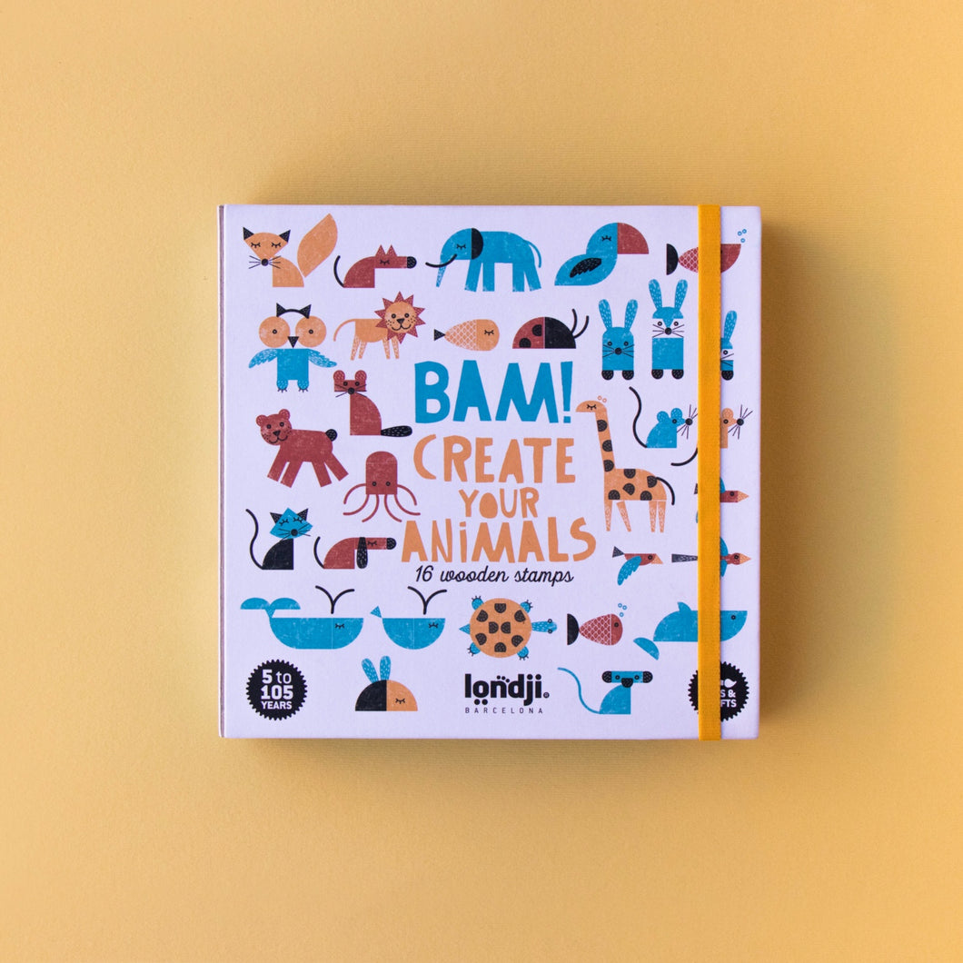 Londji BAM! ANIMALS Stamp Set | Creativity Stamp Set for Kids | Front View – Closed Box | BeoVERDE.ie