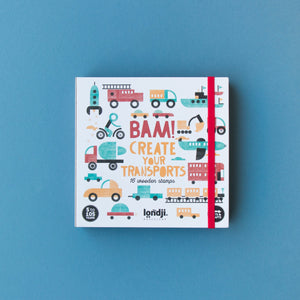 Londji BAM! TRANSPORTS Stamp Set | Creativity Vehicle Stamp Set for Kids | Front View – Closed Box | BeoVERDE.ie