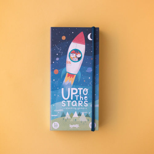 Londji UP TO THE STARS | Wooden Stacking & Balancing Game | Front View – Closed Box | BeoVERDE.ie
