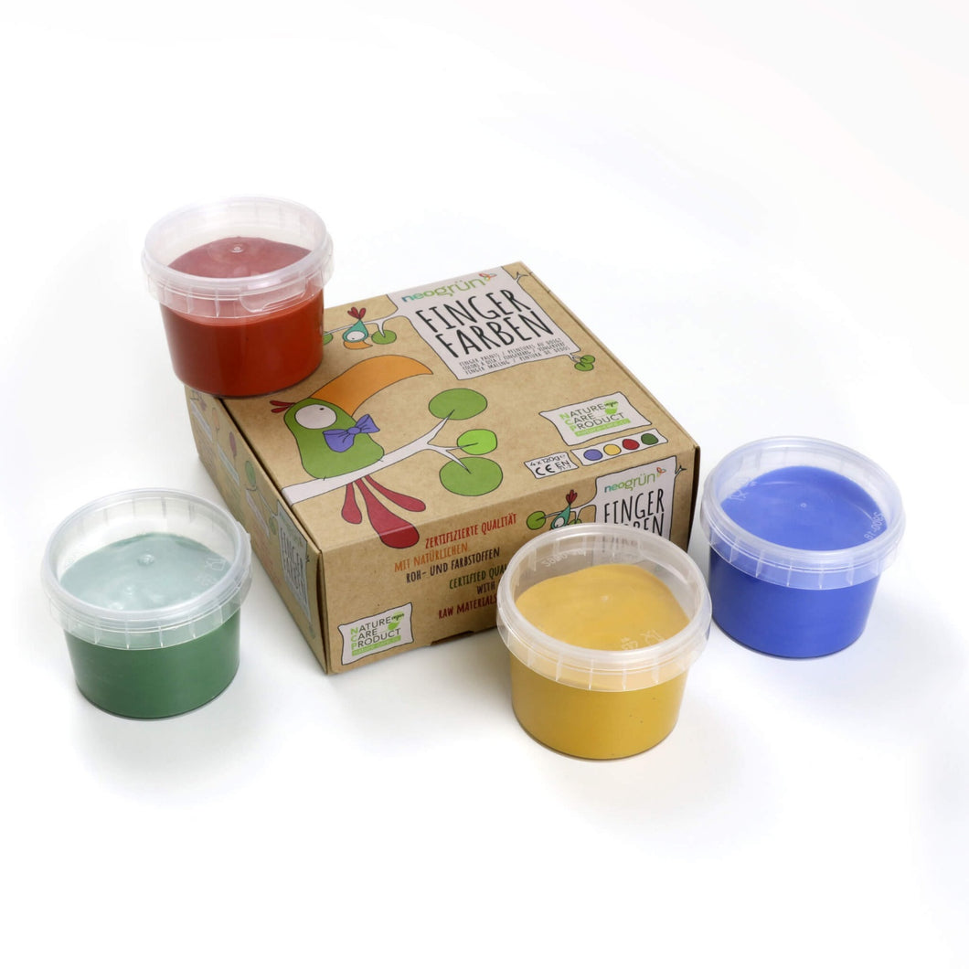 Kid's Organic Finger Paints Red, Yellow, Green & Blue | Child-Safe, Eco-Friendly, Plant-based | Certified Organic | Front View | BeoVERDE.ie