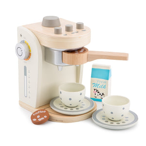 New Classic Wooden Coffee Machine Set | Pretend Play Kitchen Toys | Front View | BeoVERDE.ie