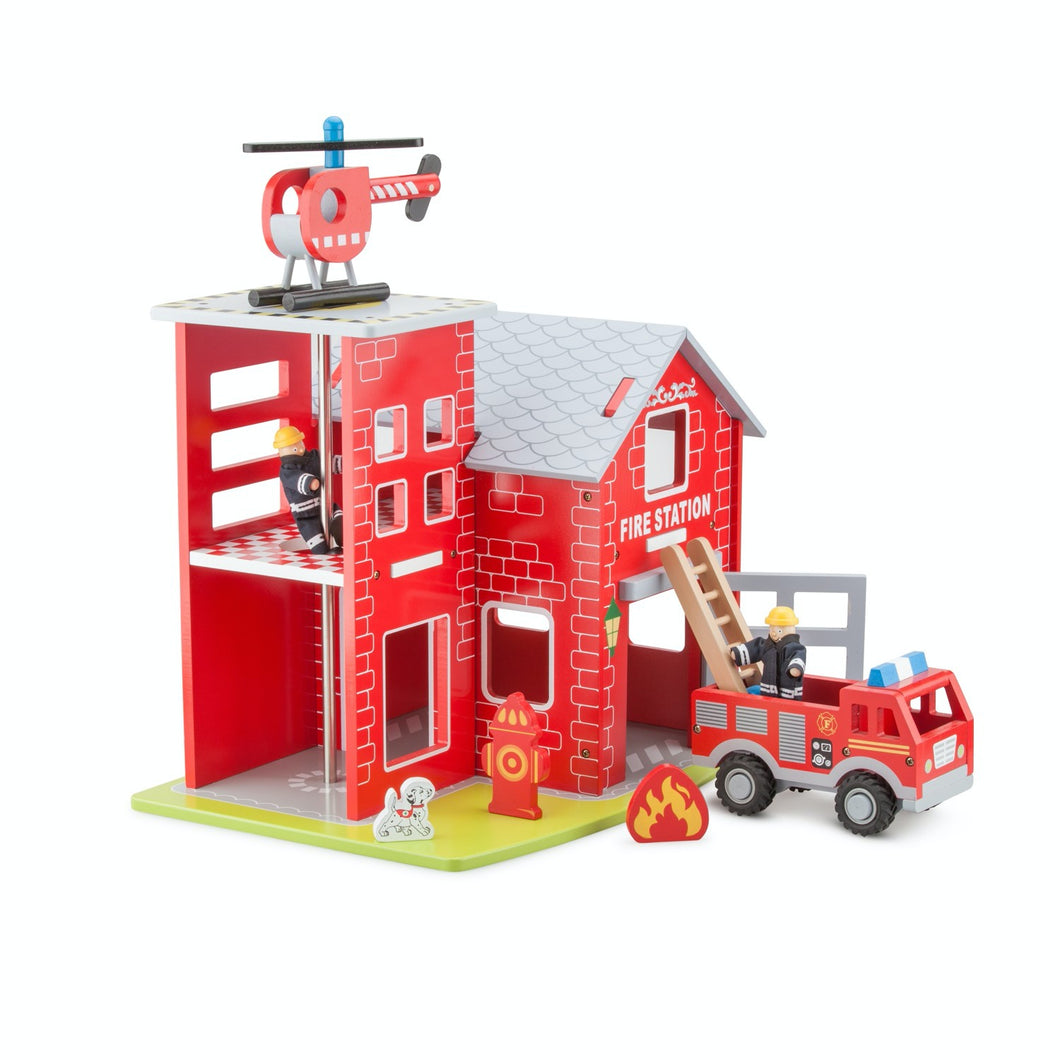 New Classic Wooden Toy Fire Station Play Set | Imaginative Play Toys | Front View | BeoVERDE.ie