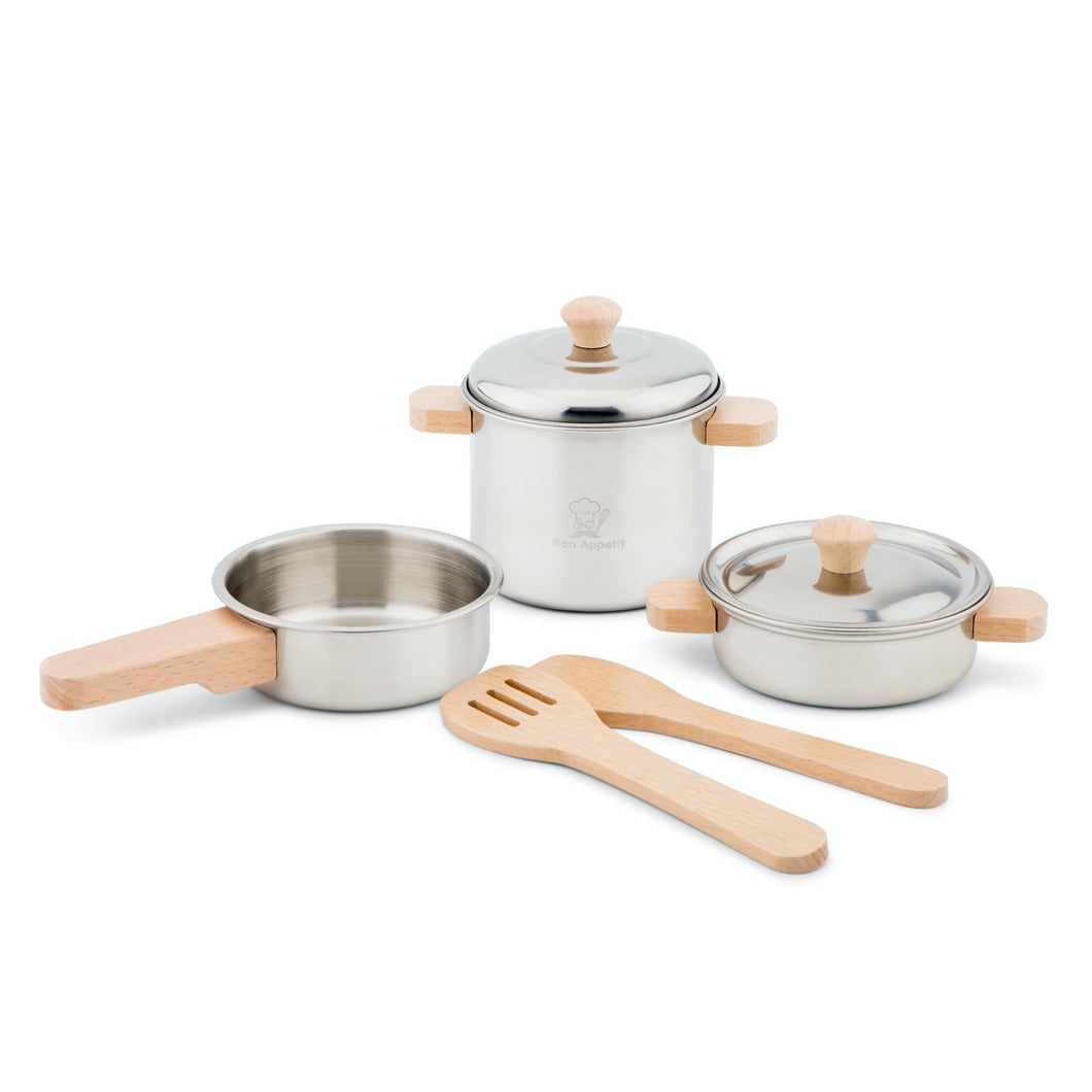 New Classic Pan Set Play Set | Pretend Play Kitchen Toys | Front View 1 | BeoVERDE.ie