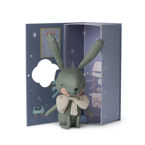 Rabbit Laurel Green in Gift Box | Imaginative Play Toy | Hand-Crafted Soft Toy Made From Cotton | Rabbit & Open Box | BeoVERDE.ie