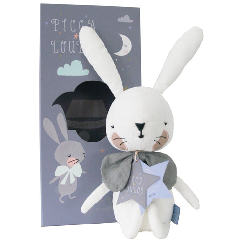 Picca LouLou White Rabbit | Imaginative Play Toy | Hand-Crafted Soft Toy Made From Cotton | Rabbit & Open Box | BeoVERDE.ie