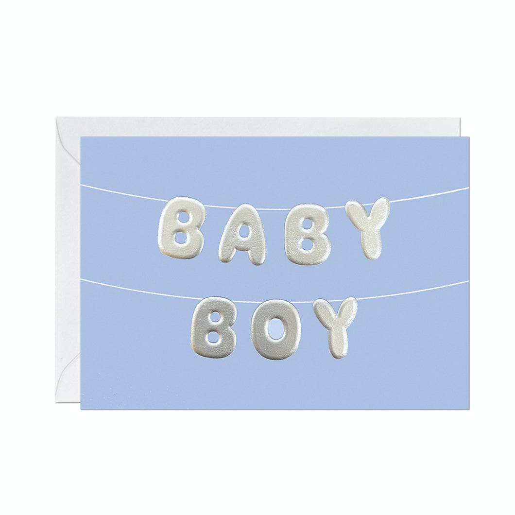 Ricicle Cards 'Baby Boy' Balloon | New Baby Card with Envelope | Front View | BeoVERDE.ie