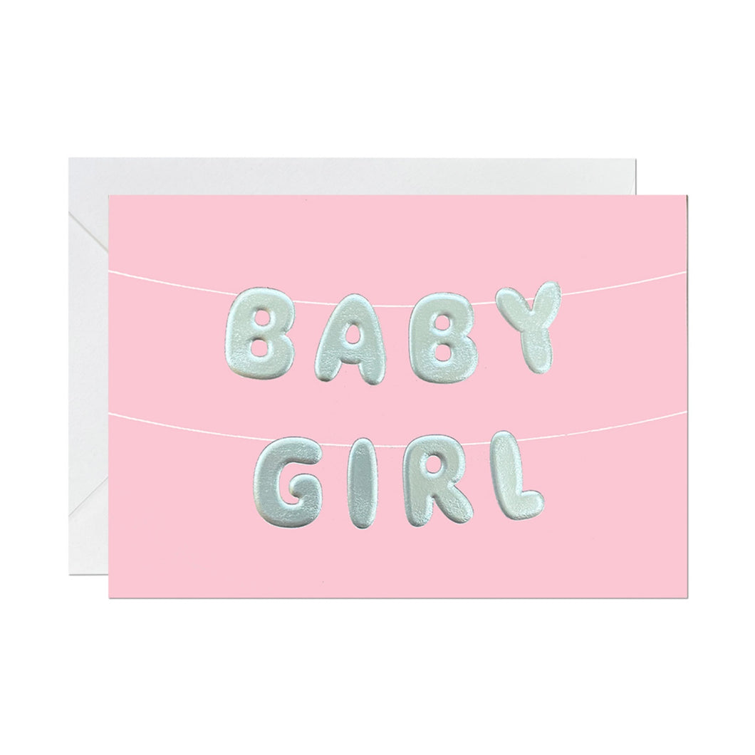 Ricicle Cards 'Baby Girl' Balloon | New Baby Card with Envelope | Front View | BeoVERDE.ie