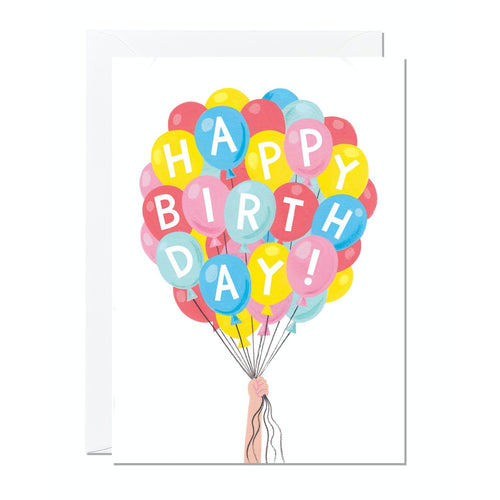 Ricicle Cards 'Happy Birthday' Balloon Bunch Birthday Card | Kids Birthday Card with Envelope | Front View | BeoVERDE.ie