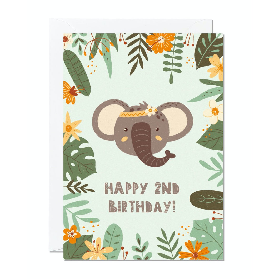 Ricicle Cards 2nd Birthday Kids Greeting Card | Kids Birthday Card with Envelope | Front View | BeoVERDE.ie
