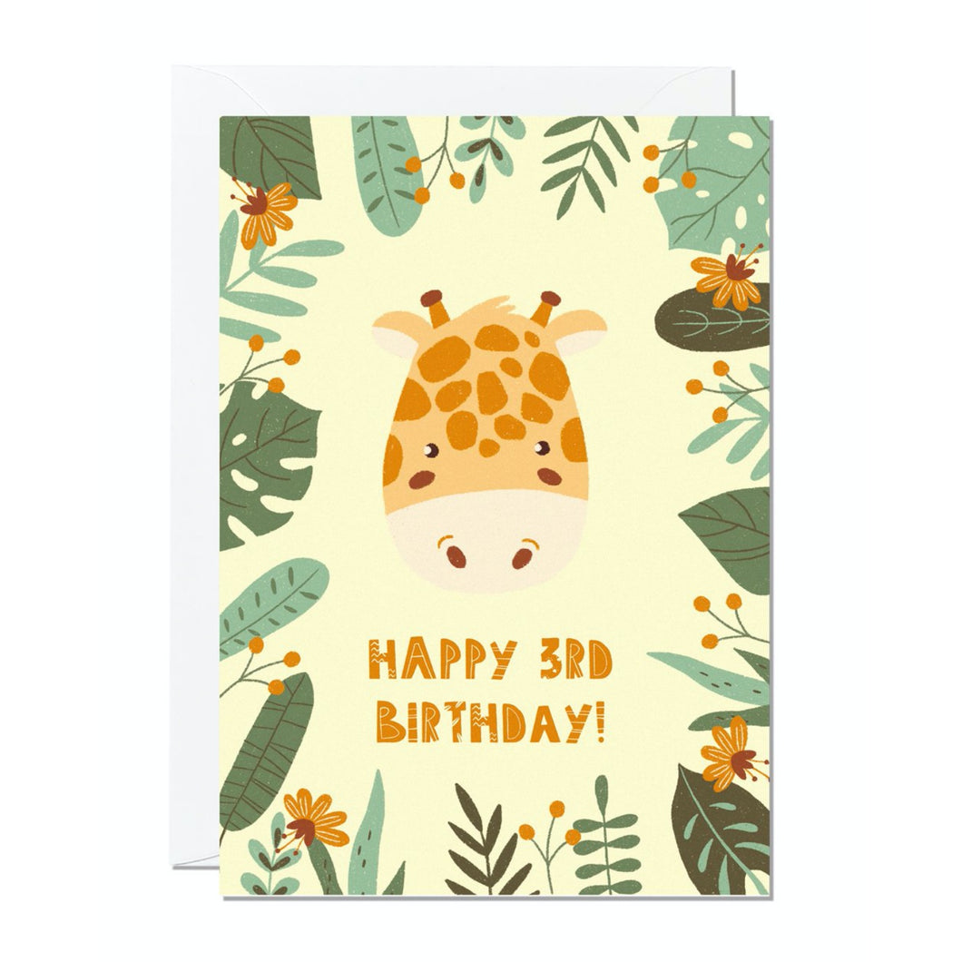 Ricicle Cards 3rd Birthday Kids Greeting Card | Kids Birthday Card with Envelope | Front View | BeoVERDE.ie
