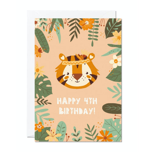 Ricicle Cards 4th Birthday Kids Greeting Card | Kids Birthday Card with Envelope | Front View | BeoVERDE.ie