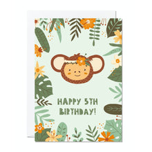 Load image into Gallery viewer, Ricicle Cards 5th Birthday Kids Greeting Card | Kids Birthday Card with Envelope | Front View | BeoVERDE.ie