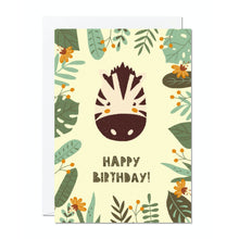 Load image into Gallery viewer, Ricicle Cards Zebra Birthday Card | Kids Birthday Card with Envelope | Front View | BeoVERDE.ie