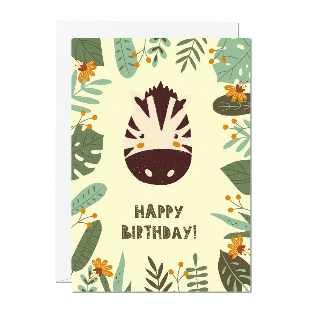 Ricicle Cards Zebra Birthday Card | Kids Birthday Card with Envelope | Front View | BeoVERDE.ie