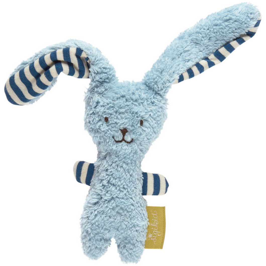 Sigikid Organic Rabbit Soft Rattle and Comforter | Blue | Front View | BeoVERDE.ie