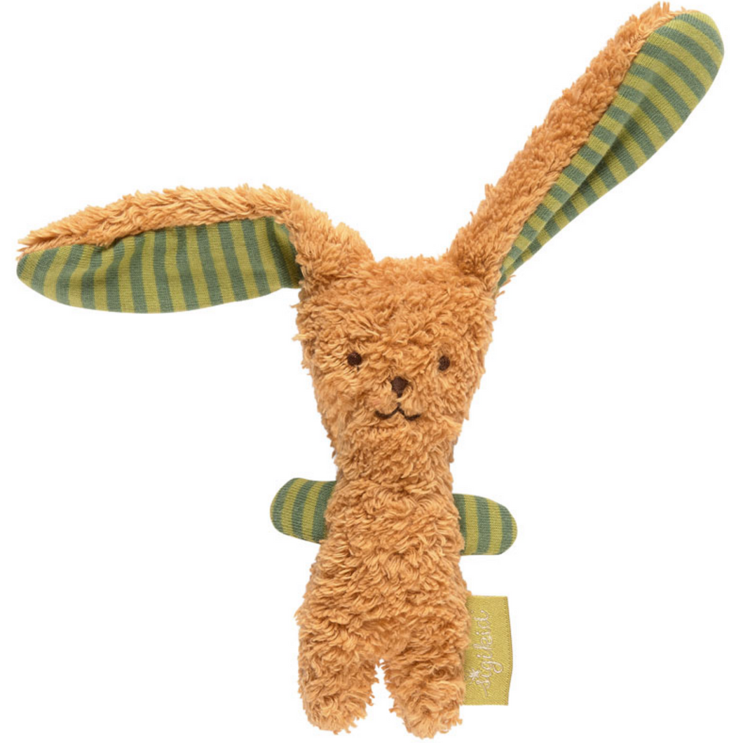 Sigikid Organic Rabbit Soft Rattle and Comforter | Light Brown & Green | Front View | BeoVERDE.ie