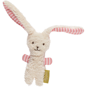 Sigikid Organic Rabbit Soft Rattle and Comforter | White & Rosé | Front View | BeoVERDE.ie
