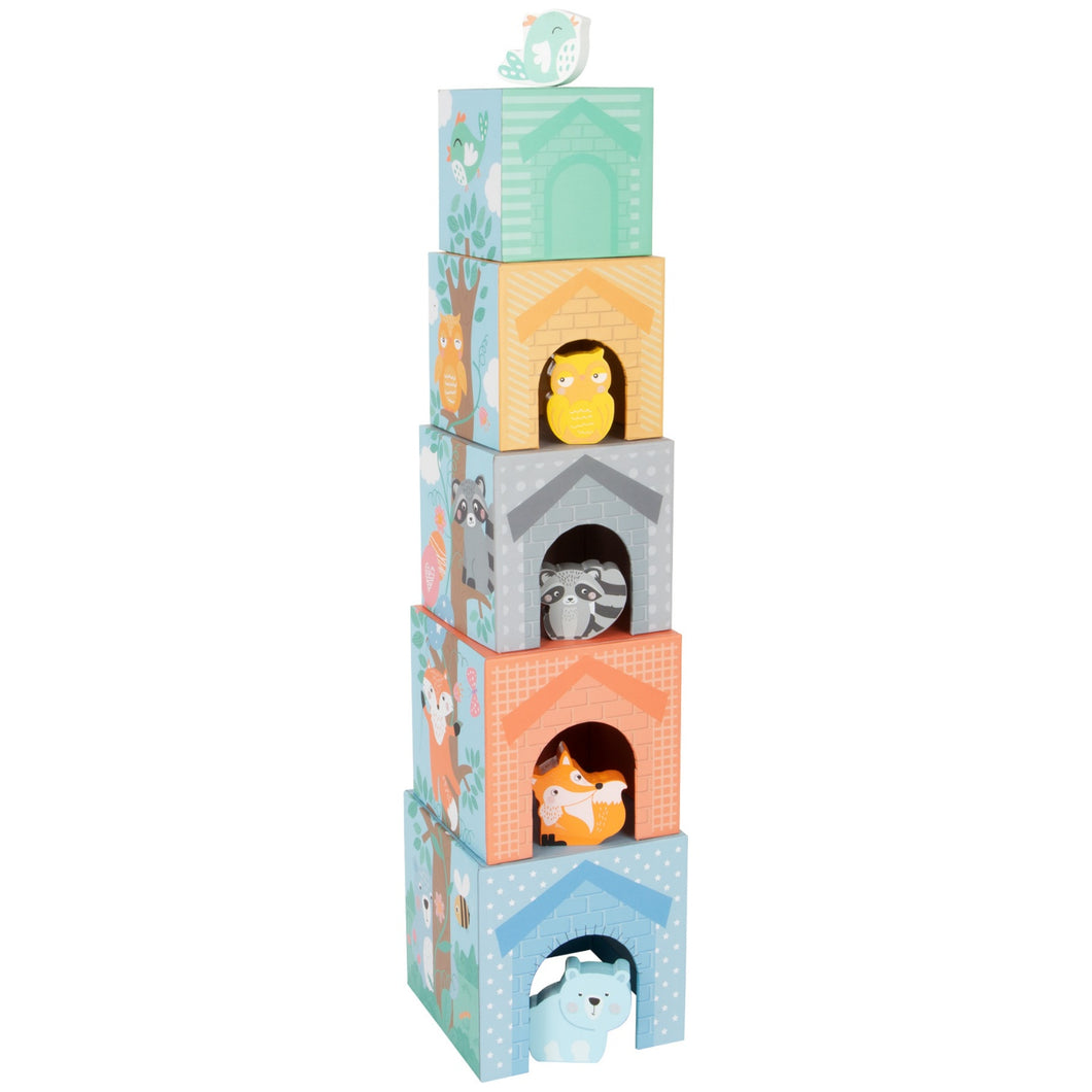 Small Foot Stacking Cubes With 5 Forest Animals | Wooden Imaginative Play Toy | Tower - Door View with Wooden Animals | BeoVERDE.ie