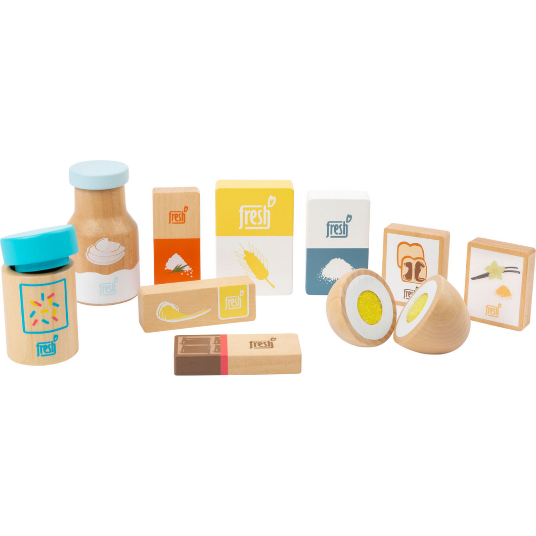 Small Foot Baking Ingredients Set | Wooden Pretend Play Toys | Front View | BeoVERDE.ie