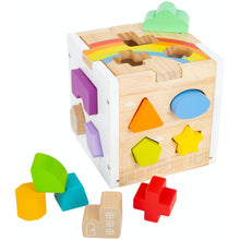 Load image into Gallery viewer, Small Foot Wooden Rainbow Shape Sorter Cube | Baby & Toddler Activity Toy | Front View | BeoVERDE.ie